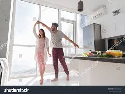 young couple dancing kitchen lovely asian stock photo 537496669