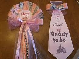 corsage de baby shower baby shower princesa mamá y papá baby shower corsage y corbata es