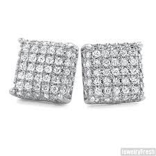 mens earrings platinum tone 3d iced out cz square mens earrings jewelryfresh