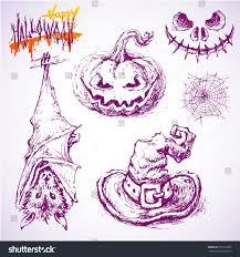 happy halloween white background set hand drawn halloween sketches isolated stock vector 326713256