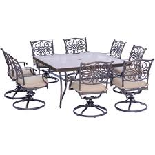 Glass Top Patio Dining Table Hanover Traditions 9 Piece Aluminum Outdoor Dining Set With Square