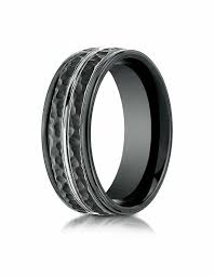wedding bands rochester ny mens 8mm black cobalt hammered wedding band