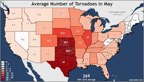 Map Of The United States In Color by Annual And Monthly Tornado Averages For Each State Maps U S