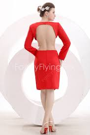 simple red long sleeve backless short prom dress at fancyflyingfox com