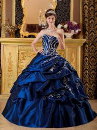 blue appliqued floor length quinceanera dress gown
