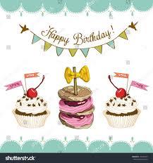 vector happy birthday card cake cupcakes stock vector 116654557