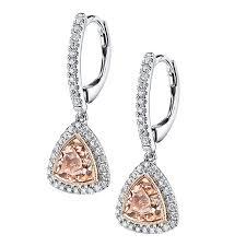 dangling diamond earrings dangle diamond earrings set with trillion morganite earrings