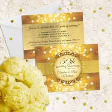 metallic bokeh wedding anniversary party invitation faux
