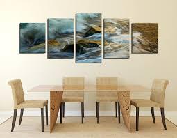 5 piece canvas wall art green sea canvas print panoramic multi