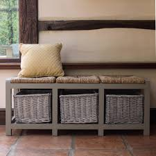 furniture storage bench design with wicker storage ideas plus