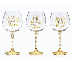 christmas wine christmas messages gold wine glass set