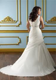 a line v neck empire waist ruched satin plus size wedding dress