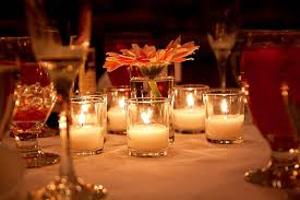 Nice Table Decoration Beautiful Table Setting With Candles In Small Vases And White