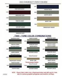 need color code or paint chart for 51 chevy chevytalk free