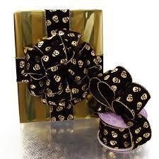 golden skulls wired ribbon