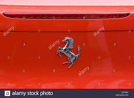 ferrari horse logo ferrari name badge and horse logo ferrari 458 italia stock photo