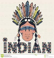 indian injun wearing headdress with feathers stock vector