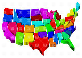Uniteds States Map by United States Map In 3d Colorful Tiles Vector Image 34501