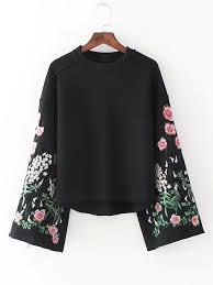bell sleeve flower embroidery sweatshirt sweatshirts online