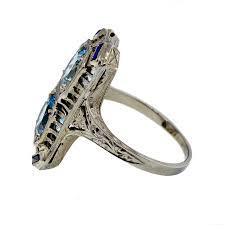 art deco aquamarine sapphire white gold filigree ring at 1stdibs