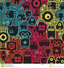 robot and monsters cool seamless pattern stock image image