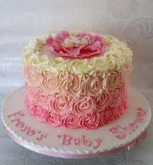 ombre rose piped buttercream effect baby shower cake with sleeping