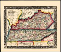 Kentucky Tennessee Map by County Map Of Kentucky And Tennessee S A Mitchell 1860