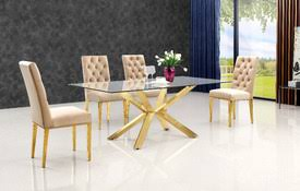 gold and glass table casual dining set everyday dining table sets modern diining at