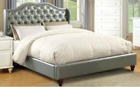 button tuck headboard silver queen bed framesilver faux leather button tufting headboard