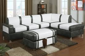 Sectional Sofa With Ottoman Barnes Cream And Gray Bonded Leather Sectional Sofa With Ottoman
