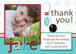 birthday thank you card blue retro bowling birthday photo invitation thank you card