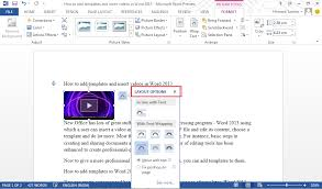 word layout pictures templates and videos to word 2013