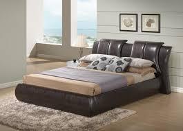 Leather Headboard Platform Bed Bedroom Leather Masterton Eastern King Upholstered Platform Bed