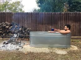 stock tank tub diy wood fired backyard tub