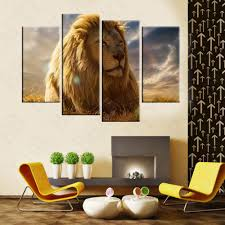 aliexpress com buy 4 panels beautiful lion painting canvas wall