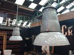 set of 5 french vintage industrial pendant light fixtures sold