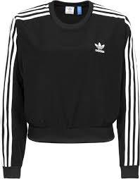 adidas crop top sweater popular adidas 3 stripes crop sweater black adidas tops