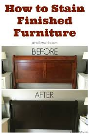 gel stain cherry to espresso sleigh bed u2013 before and after as