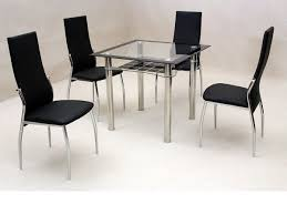 small square clear black glass dining table and 4 chairs set
