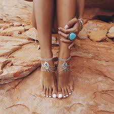 barefoot sandals for wedding 2pcs set boho bead anklet wedding foot jewelry chain barefoot