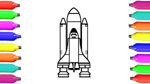 how to draw rocket coloring pages for kids learn colors youtube