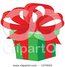 big present bow clipart of a christmas bow and ribbon blue snowflakes on