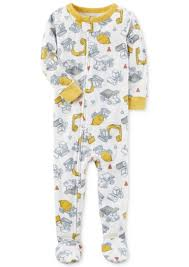 s s 1 pc construction print footed pajamas toddler