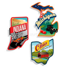 Indiana traveling suitcase images Retro us state illustrations indiana ohio michig royalty free jpg