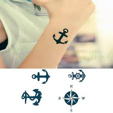 waterproof temporary tattoo sticker anchors compass small size