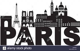 champagne bottle outline paris france city skyline outline silhouette with champagne bottle