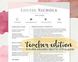 Cover Letter In Resume Teacher Resume Template Etsy