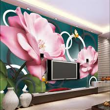 wallpaper bunga lingkaran air bunga rose camellia beibehang kupu kupu 3d bunga lingkaran tv