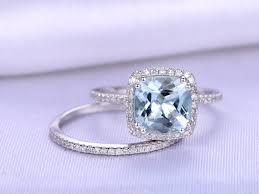 bridal set wedding rings aquamarine ring bridal set wedding ring set 8mm cushion cut