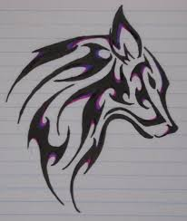 wolf tattoo all my favorite colors purple blue and black